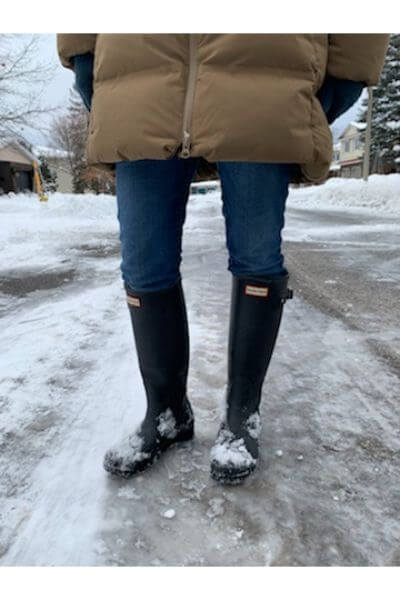 Wearing Hunterboots  on the street
