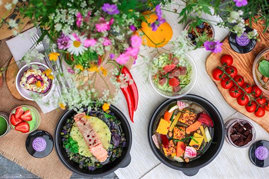 nice dinner setup with flowers