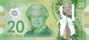 Present Canadian $20 dollar bill