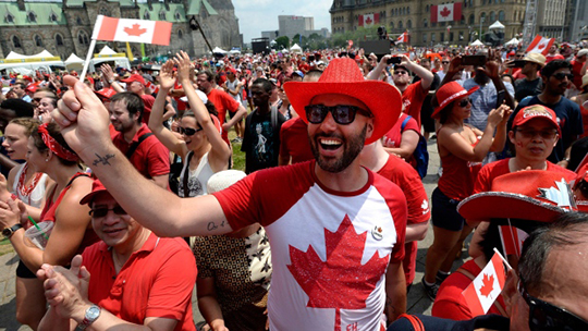 A man with a Canadian flag