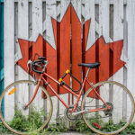 Maple leaf with a bike