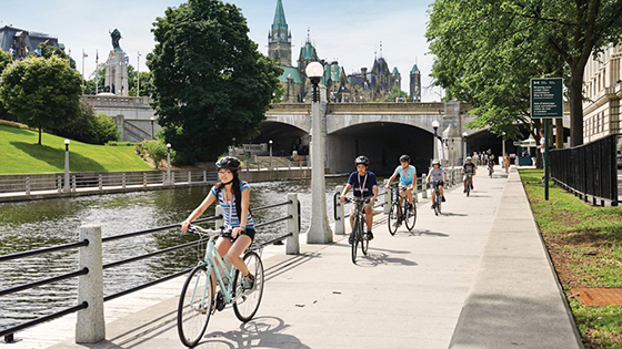 cycling along Rideau Canal