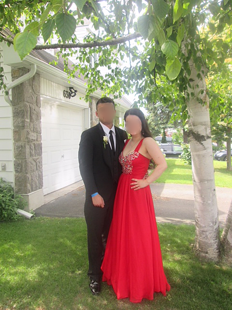 Boy and girl for prom outside