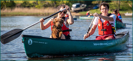 Two people and a dog canoeing