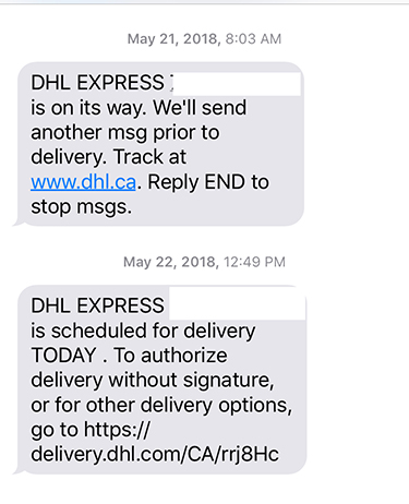 texting from DHL