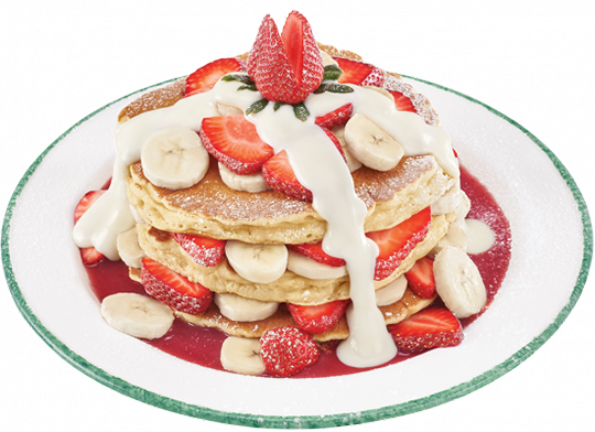 pancake with strawberries and bananas