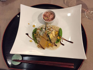 The fish and noodle dish