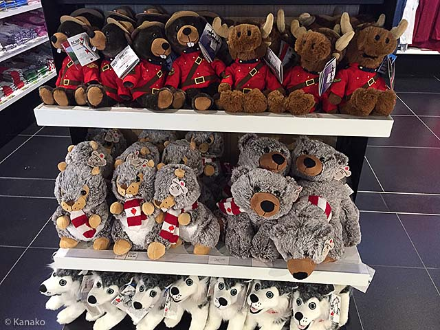 Stuffed animals sold at the airport