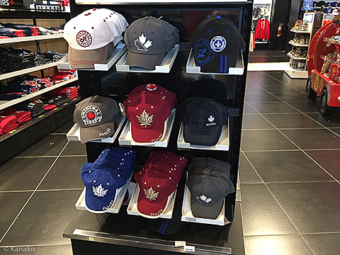 Candian baseball caps sold at the airport