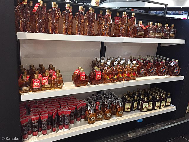 the shelf of maple syrup at the airport
