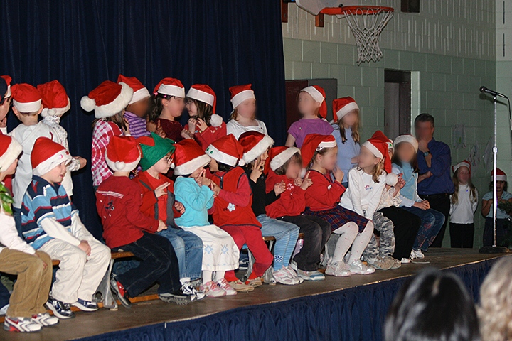 Christmas singing blur faces