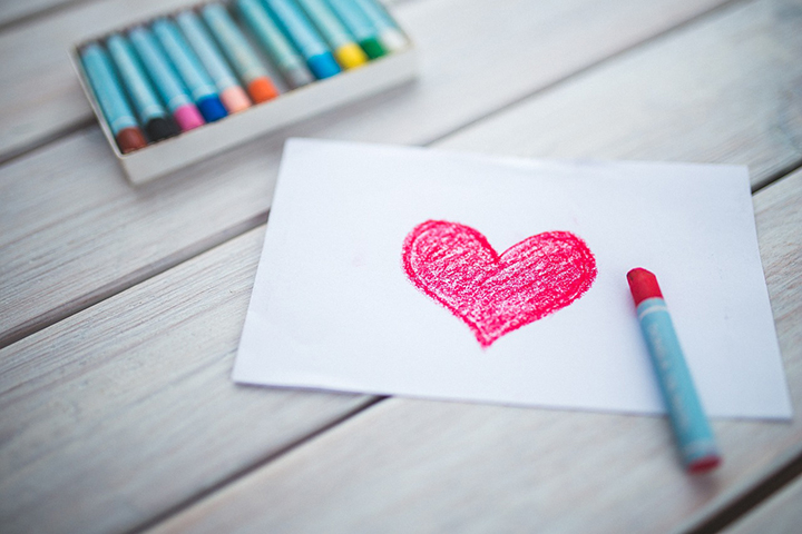 A big Heart drawn with crayon