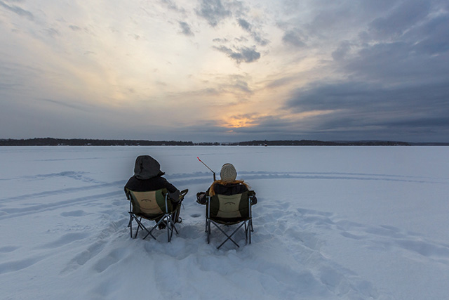 ice fishing on the lake