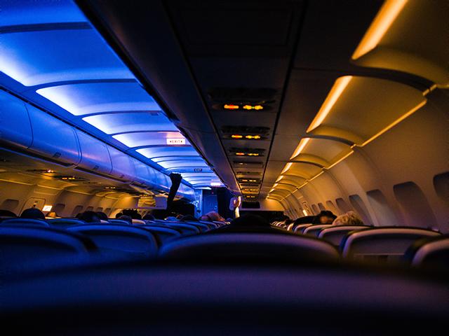 Inside the plane in the dark