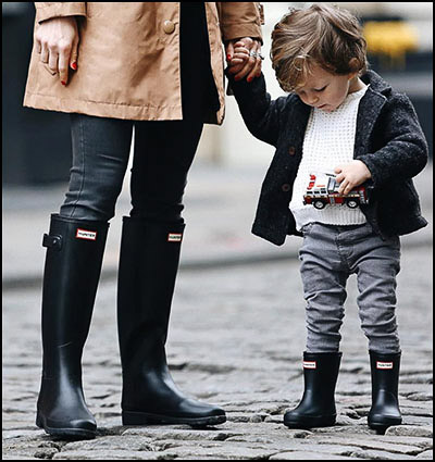 mom and her boy wearing hunter boots