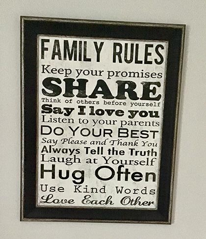 The wall ornament of family rules