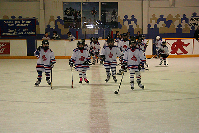 children playing hockey
