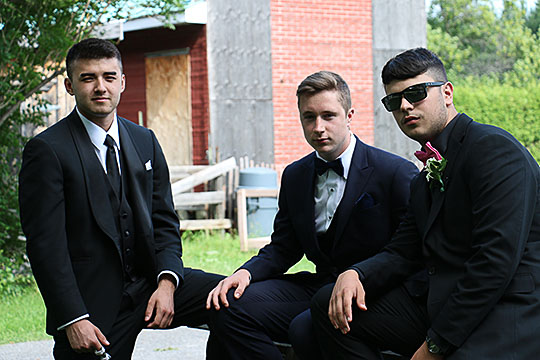 Three boys at the prom