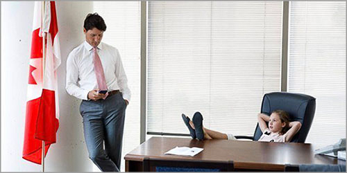 Trudeau and his daughter in his office