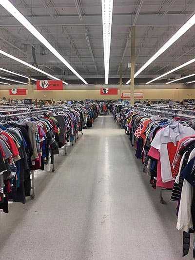 rows of used clothes