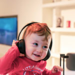 The little boy listening to music