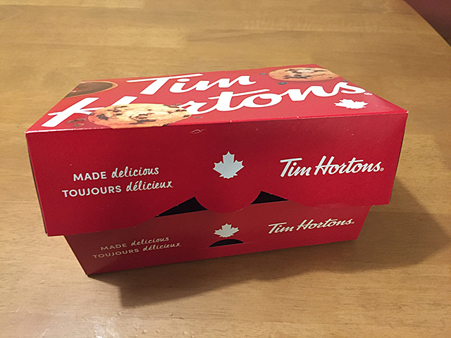 A box to hold 6 Tim Hortons donuts