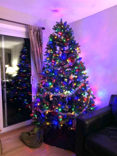 部屋にある大きなクリスマスツリー