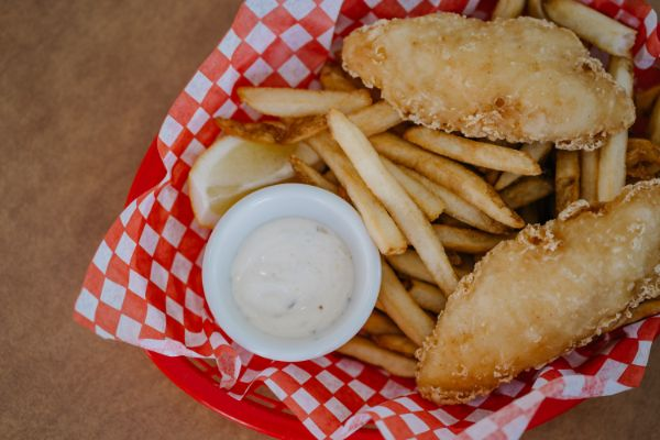 Fish and chips in a restaurant